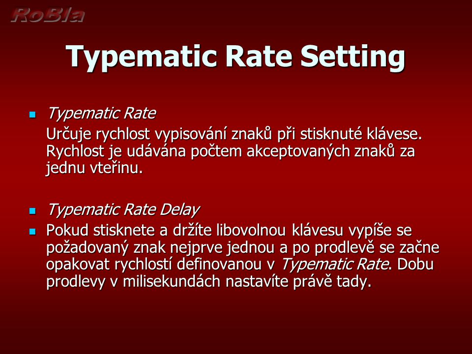 Typematic Rate Setting