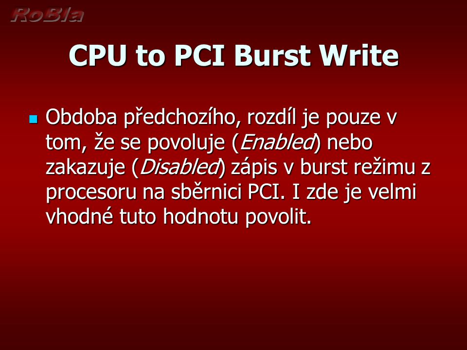 CPU to PCI Burst Write