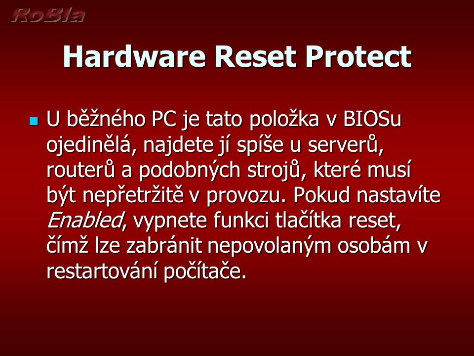 Hardware Reset Protect