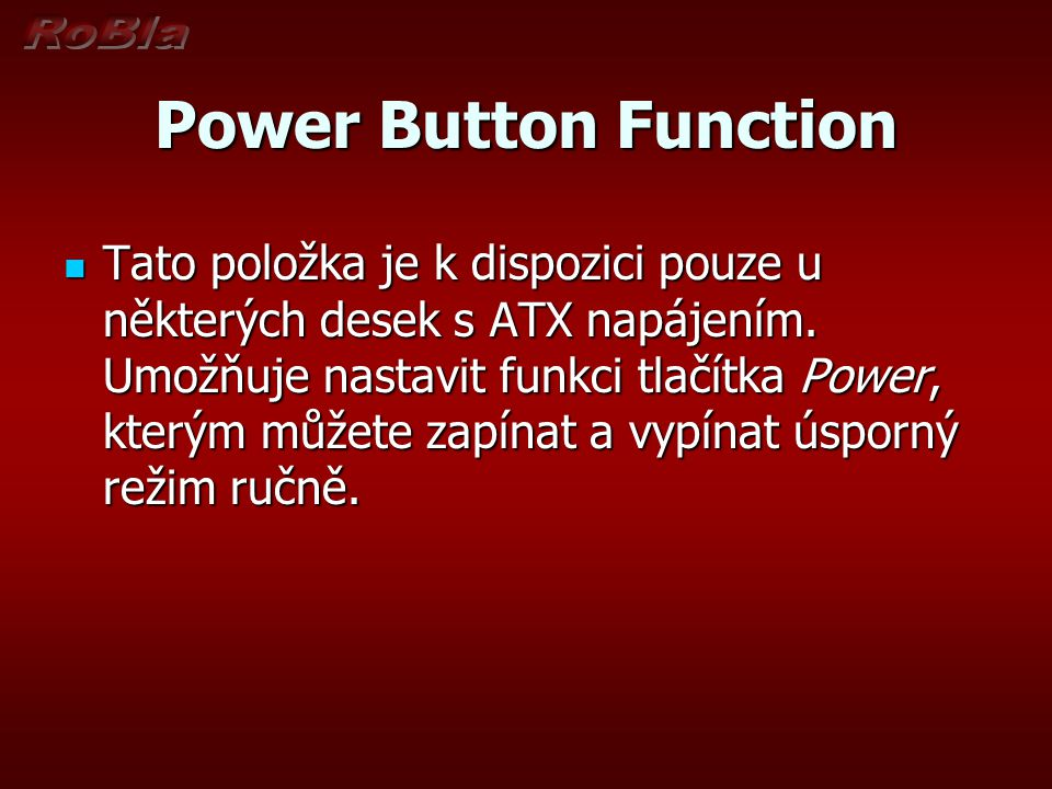 Power Button Function