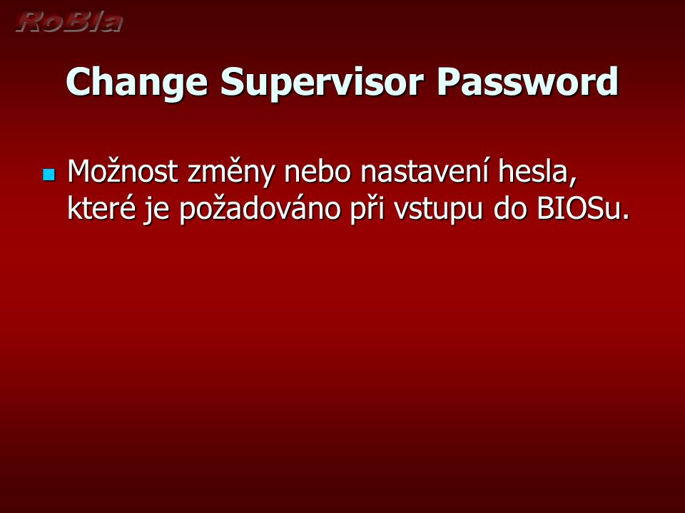 Change Supervisor Password