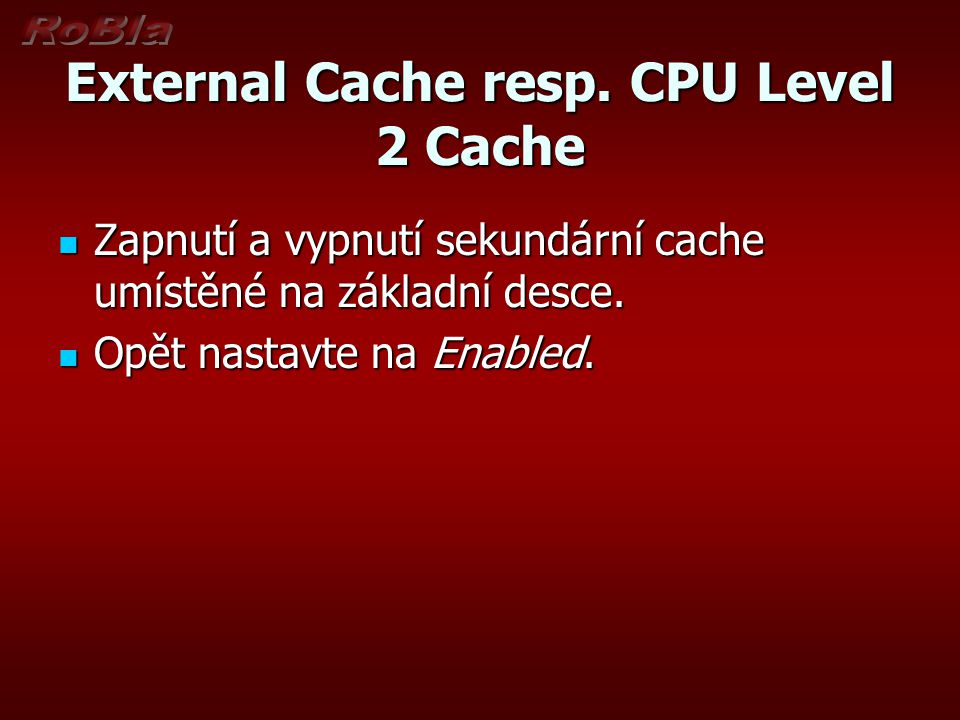 External Cache resp. CPU Level 2 Cache