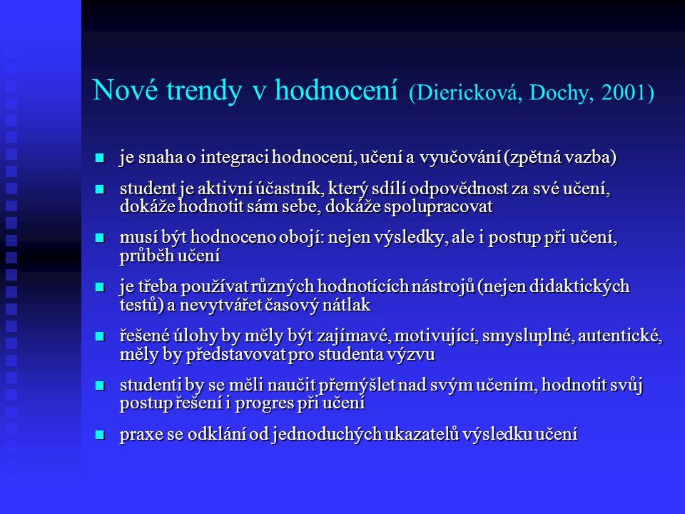 Nové trendy v hodnocení (Diericková, Dochy, 2001)