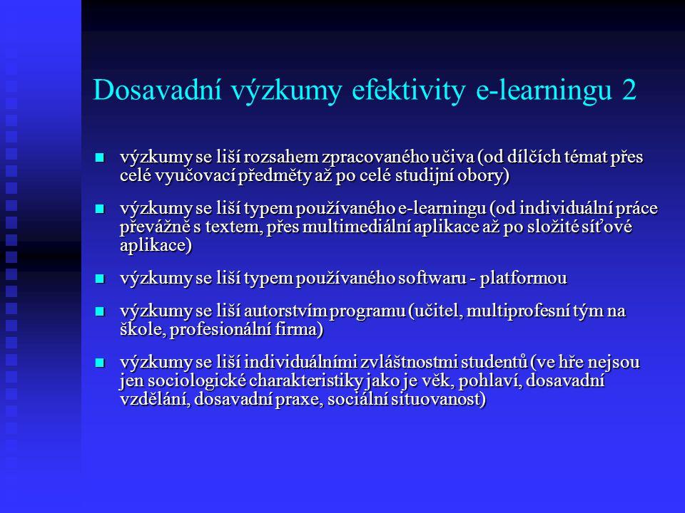 Dosavadní výzkumy efektivity e-learningu 2