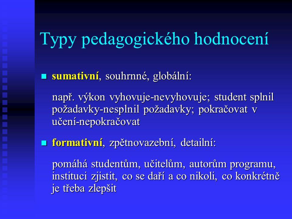 Typy pedagogického hodnocení