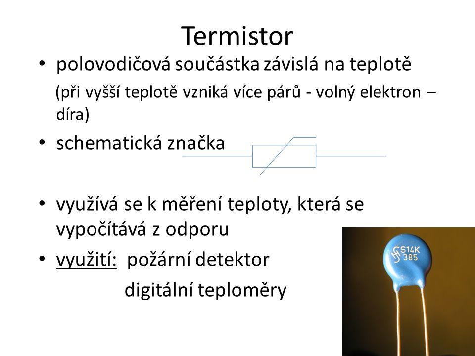 Termistor polovodičová součástka závislá na teplotě schematická značka