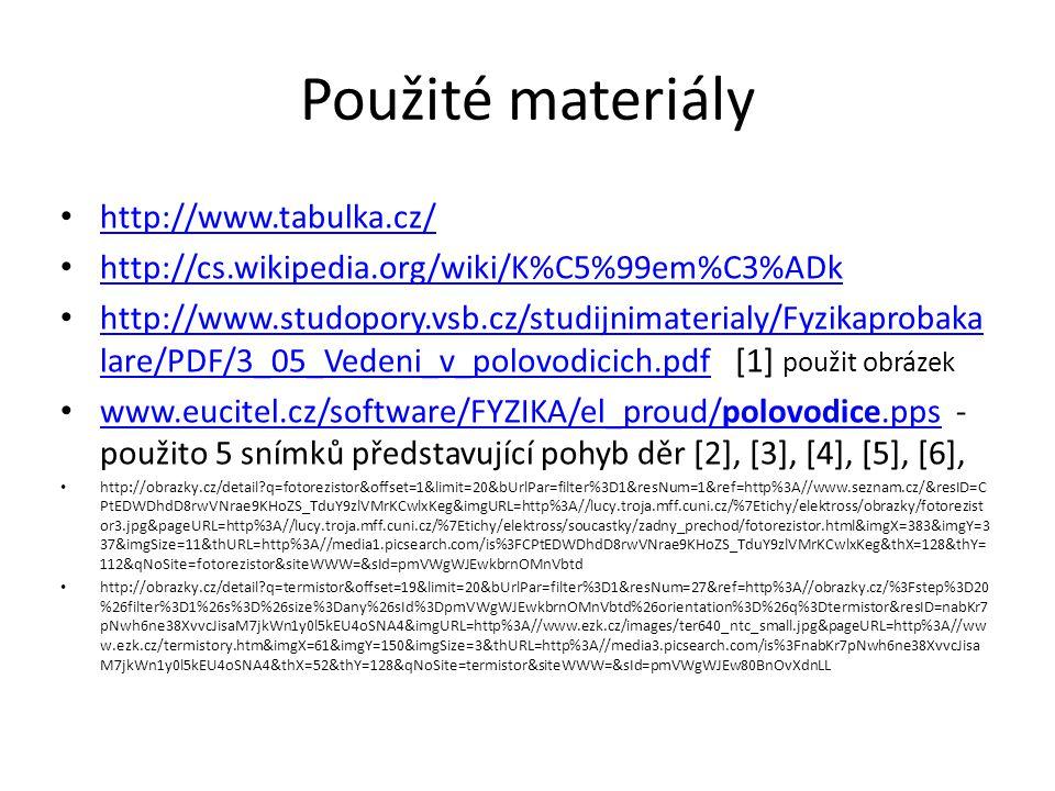 Použité materiály http://www.tabulka.cz/
