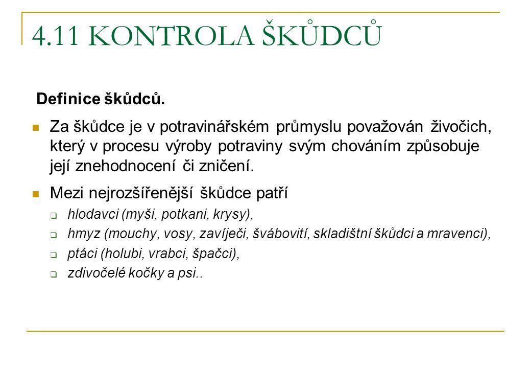4.11 KONTROLA ŠKŮDCŮ Definice škůdců.