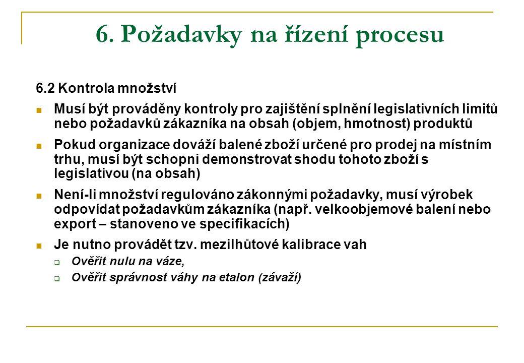 6. Požadavky na řízení procesu