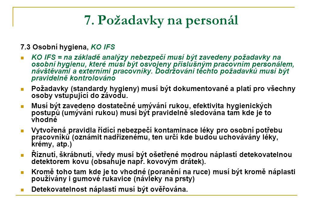 7. Požadavky na personál 7.3 Osobní hygiena, KO IFS