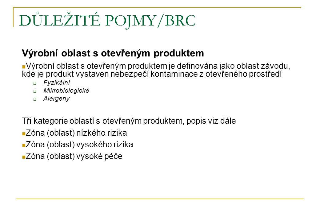 DŮLEŽITÉ POJMY/BRC Výrobní oblast s otevřeným produktem