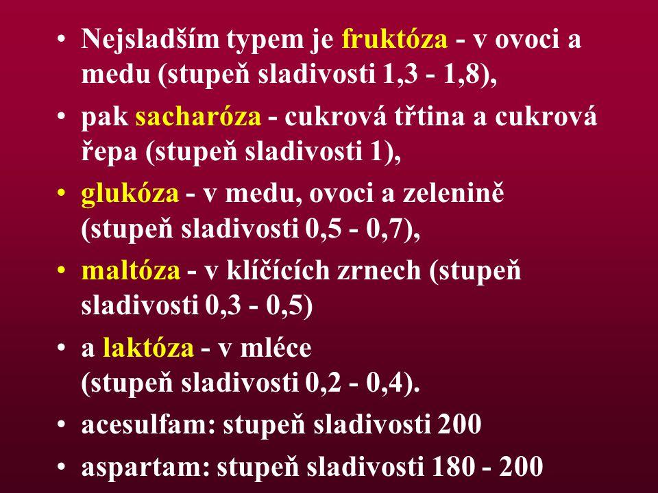 Nejsladším typem je fruktóza - v ovoci a medu (stupeň sladivosti 1,3 - 1,8),
