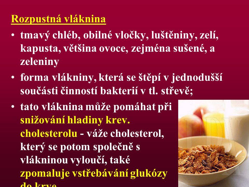 Rozpustná vláknina tmavý chléb, obilné vločky, luštěniny, zelí, kapusta, většina ovoce, zejména sušené, a zeleniny.