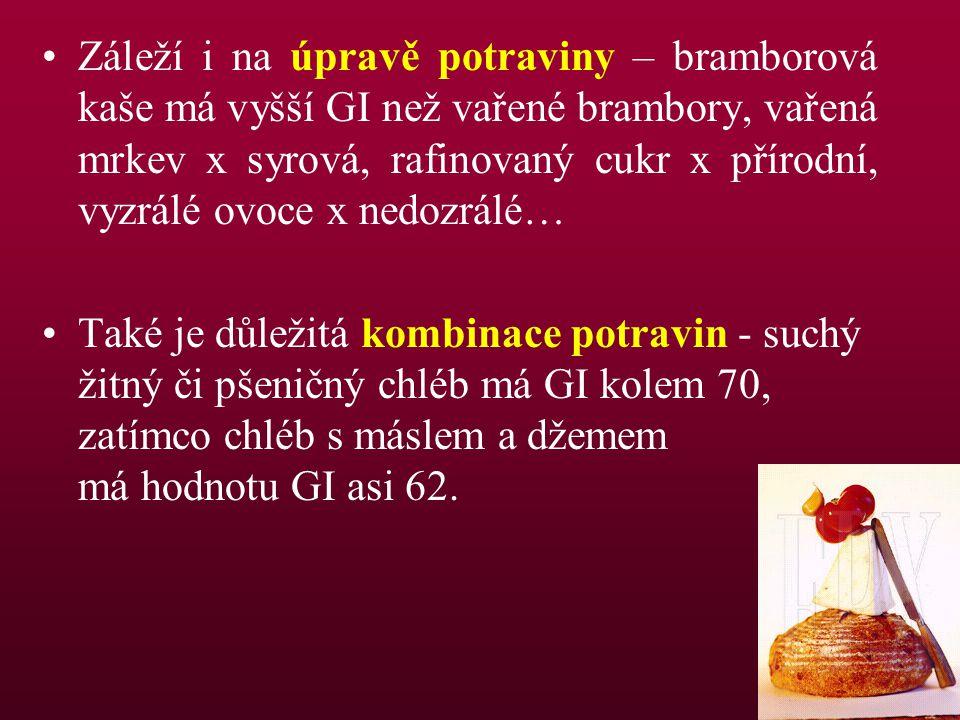 Záleží i na úpravě potraviny – bramborová kaše má vyšší GI než vařené brambory, vařená mrkev x syrová, rafinovaný cukr x přírodní, vyzrálé ovoce x nedozrálé…