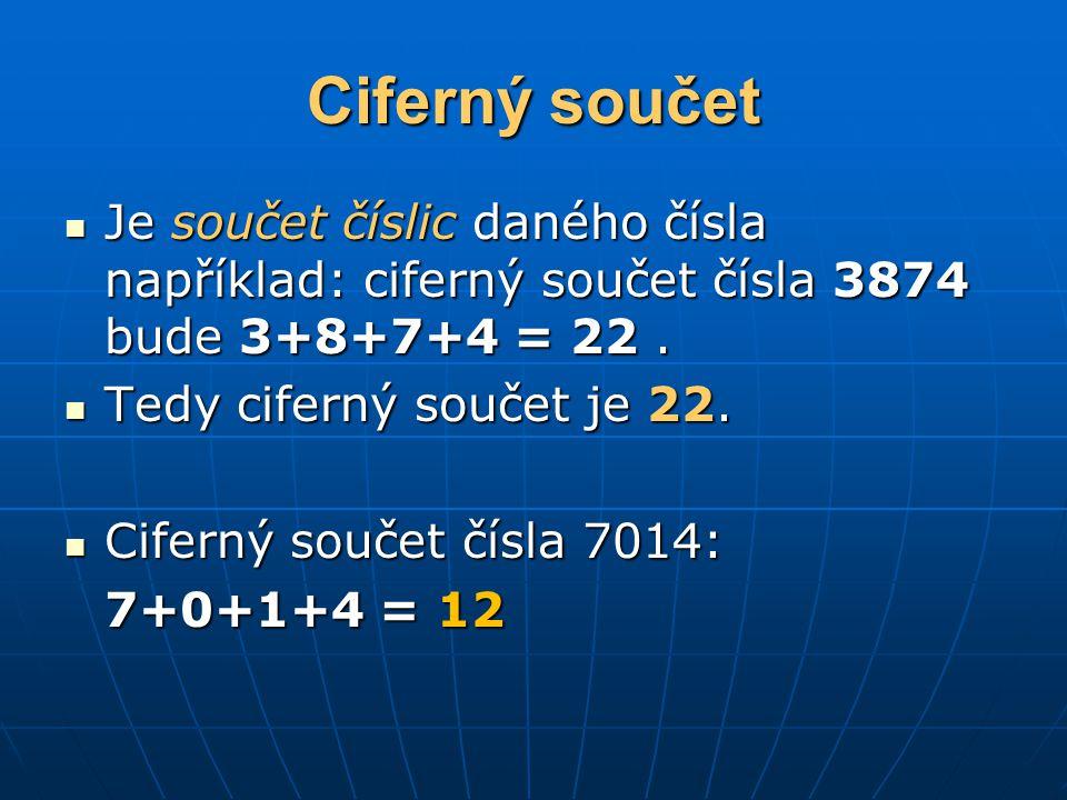 Ciferný součet Je součet číslic daného čísla například: ciferný součet čísla 3874 bude 3+8+7+4 = 22 .