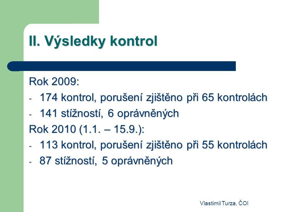 II. Výsledky kontrol Rok 2009:
