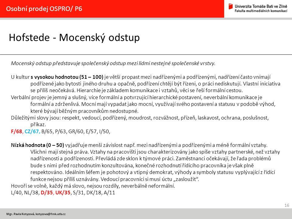 Hofstede - Mocenský odstup