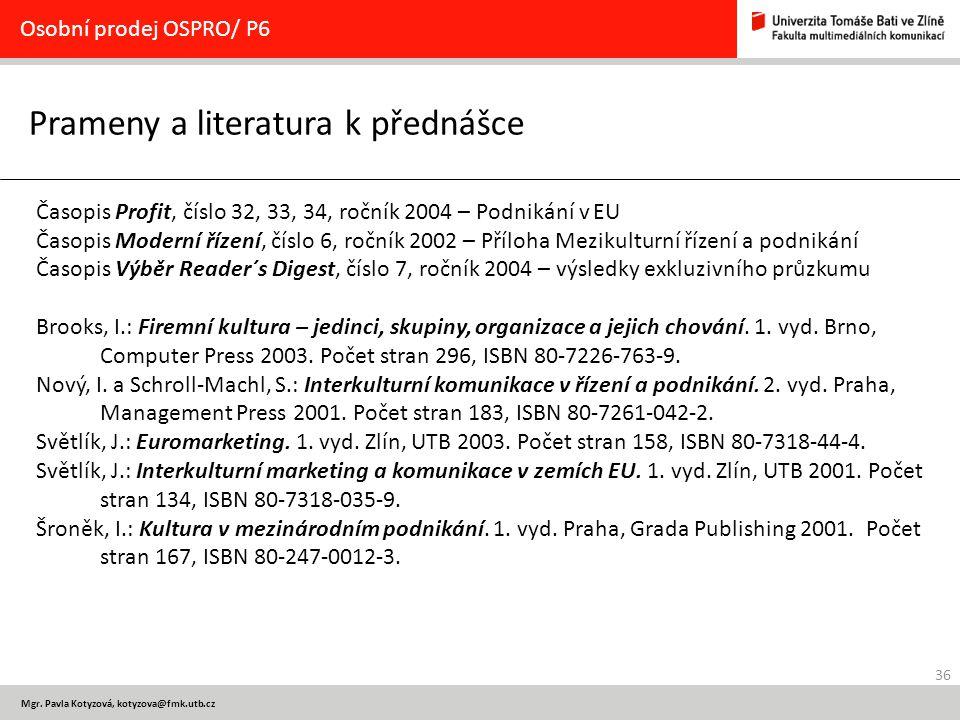 Prameny a literatura k přednášce