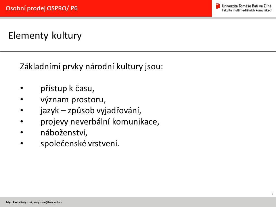Elementy kultury Základními prvky národní kultury jsou: