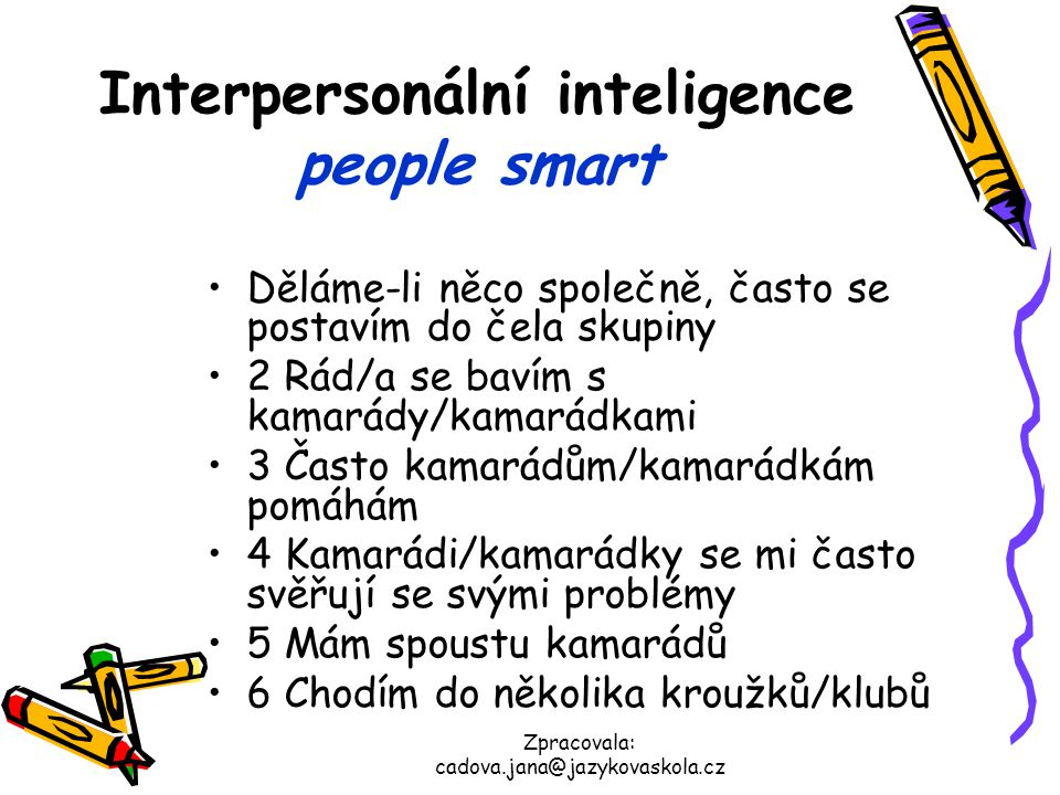 Interpersonální inteligence people smart
