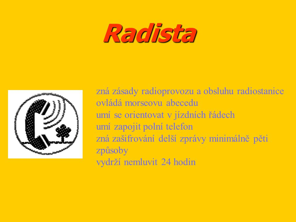 Radista zná zásady radioprovozu a obsluhu radiostanice