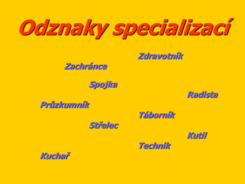 Odznaky specializací Zdravotník Zachránce Spojka Radista Průzkumník
