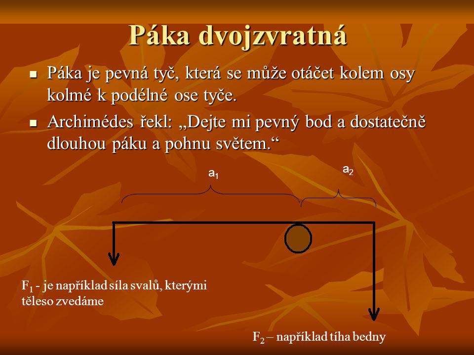 Páka dvojzvratná Páka je pevná tyč, která se může otáčet kolem osy kolmé k podélné ose tyče.