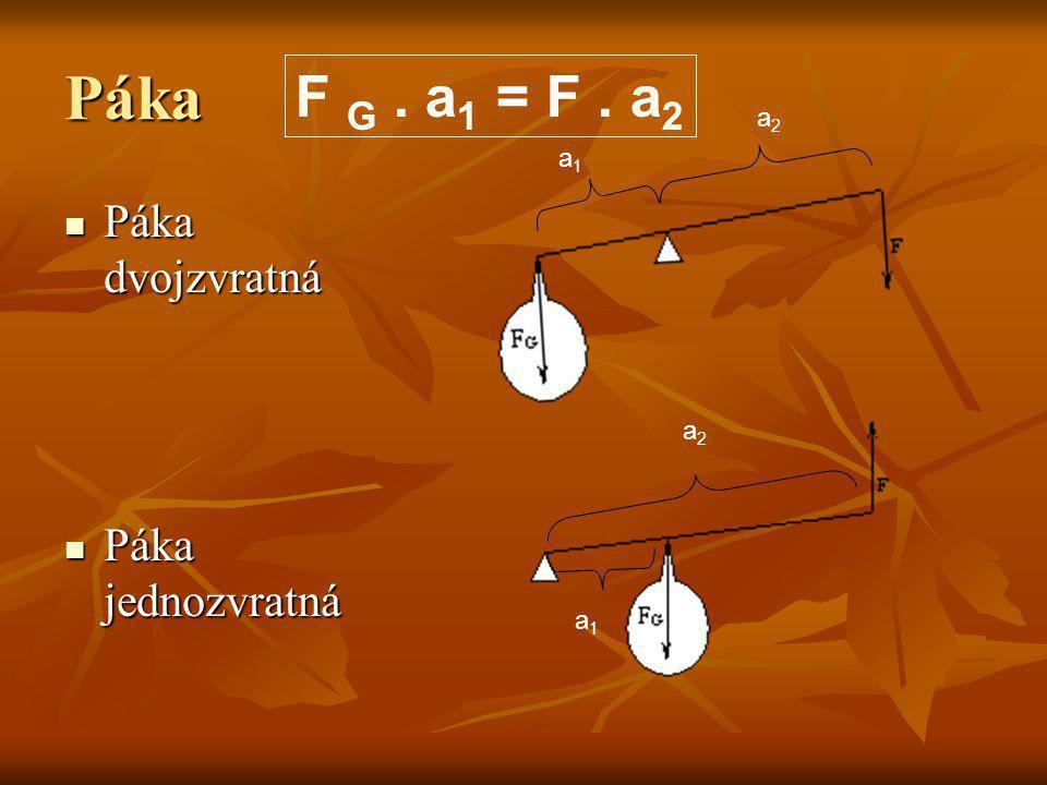 Páka F G . a1 = F . a2 a2 a1 Páka dvojzvratná Páka jednozvratná a2 a1