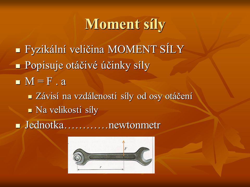 Moment síly Fyzikální veličina MOMENT SÍLY