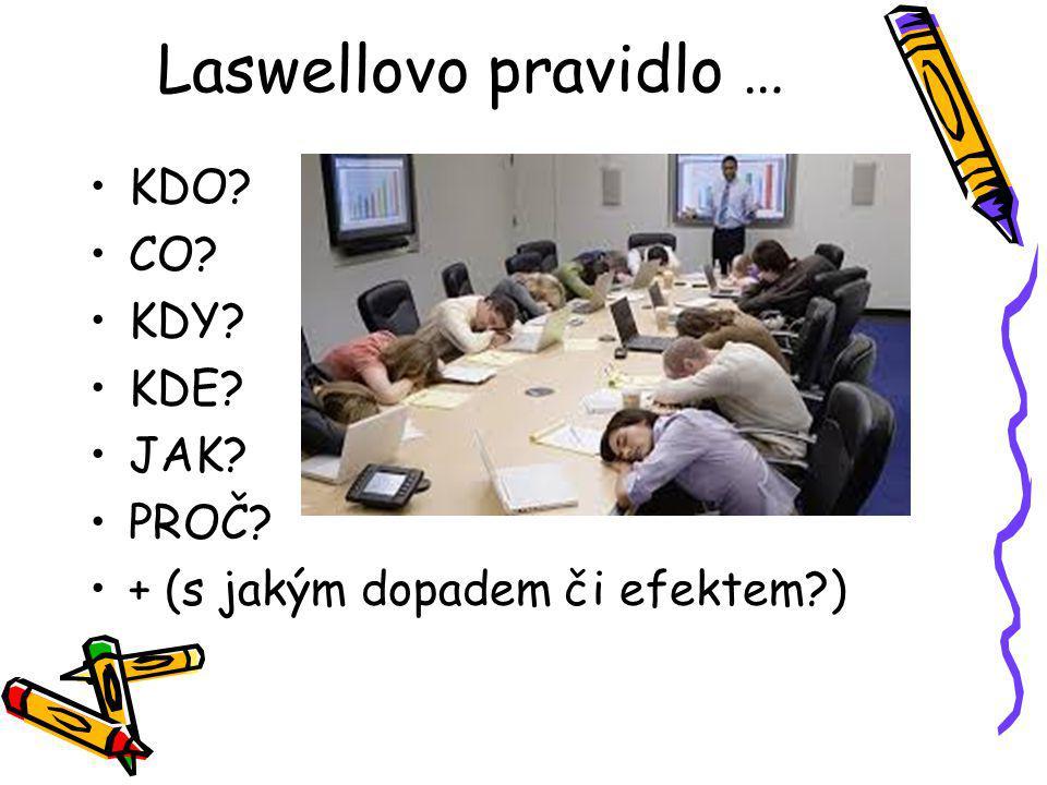 Laswellovo pravidlo … KDO CO KDY KDE JAK PROČ