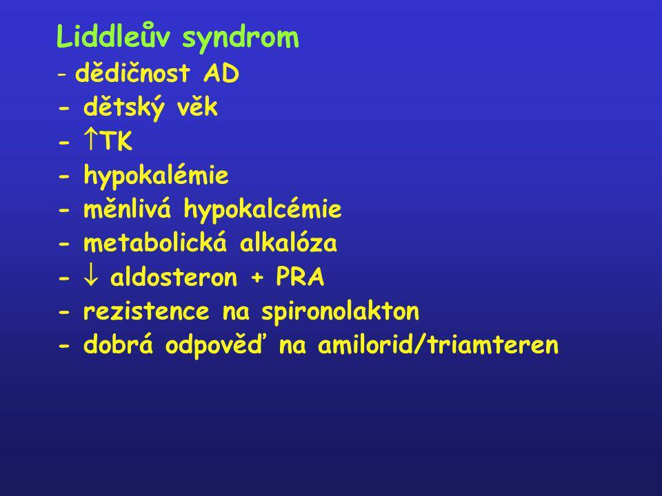 Liddleův syndrom - dědičnost AD - dětský věk - TK - hypokalémie