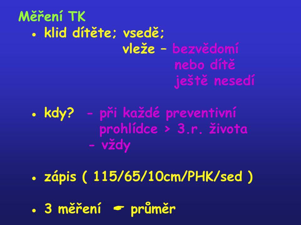 Měření TK ● klid dítěte; vsedě; vleže – bezvědomí nebo dítě ještě nesedí ● kdy.