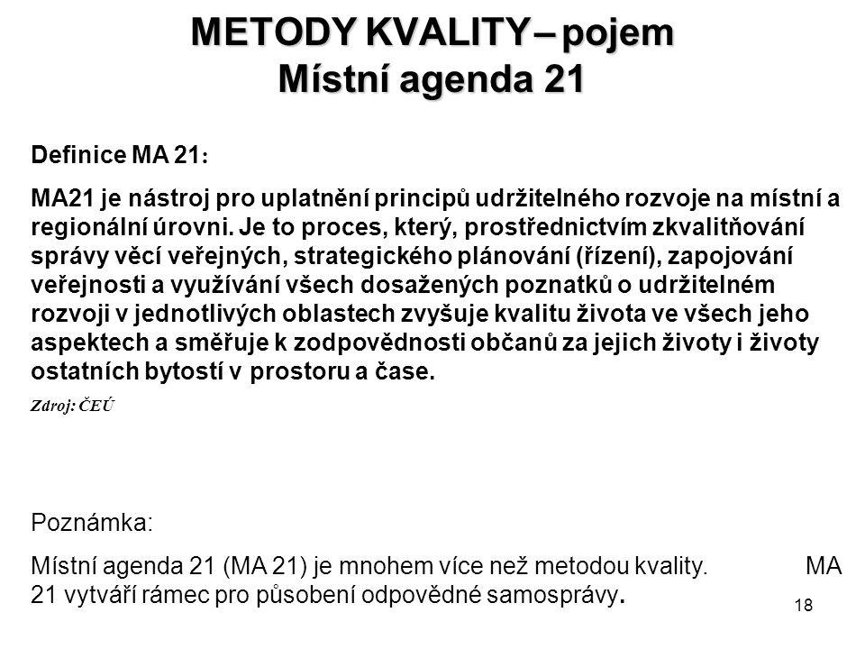 METODY KVALITY – pojem Místní agenda 21