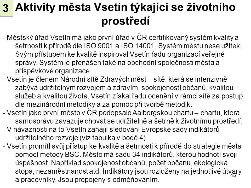 Aktivity města Vsetín týkající se životního prostředí