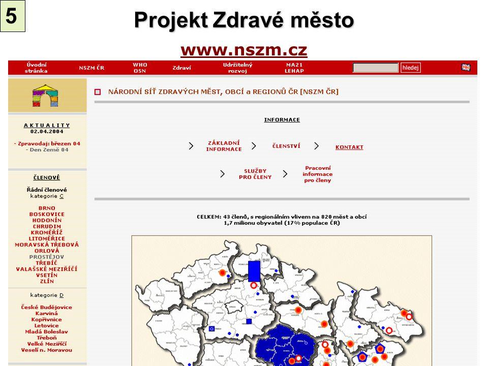 5 Projekt Zdravé město www.nszm.cz