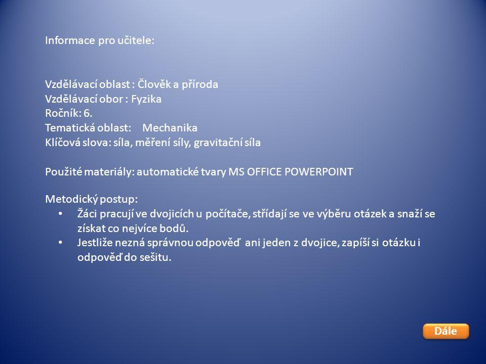 Informace pro učitele: