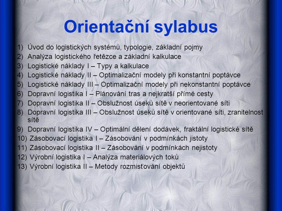 Orientační sylabus 1) Úvod do logistických systémů, typologie, základní pojmy. 2) Analýza logistického řetězce a základní kalkulace.