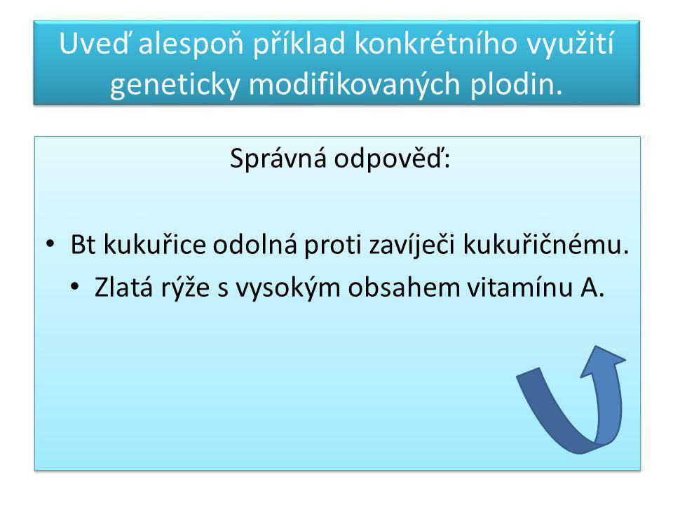Uveď alespoň příklad konkrétního využití geneticky modifikovaných plodin.