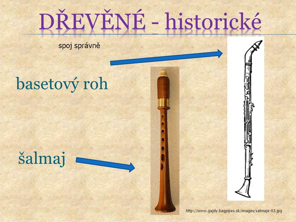 DŘEVĚNÉ - historické basetový roh šalmaj spoj správně