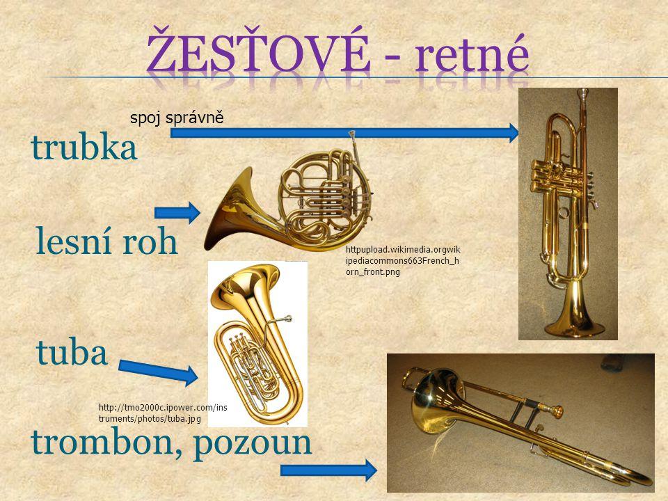 ŽESŤOVÉ - retné trubka lesní roh tuba trombon, pozoun spoj správně