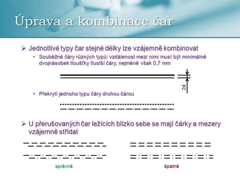 Úprava a kombinace čar Jednotlivé typy čar stejné délky lze vzájemně kombinovat.