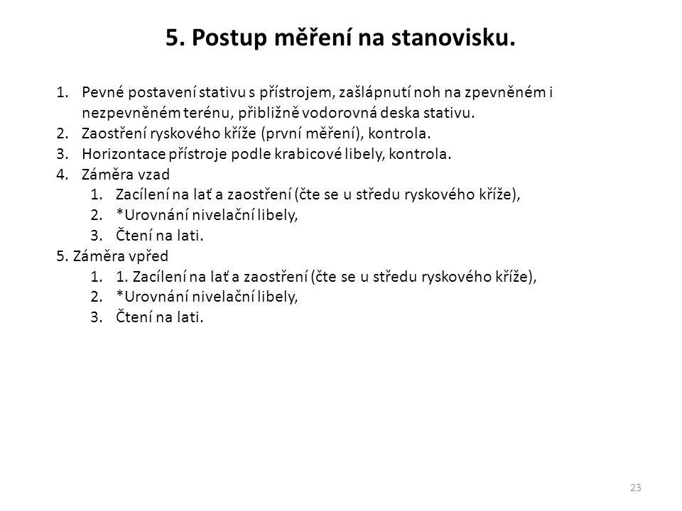 5. Postup měření na stanovisku.