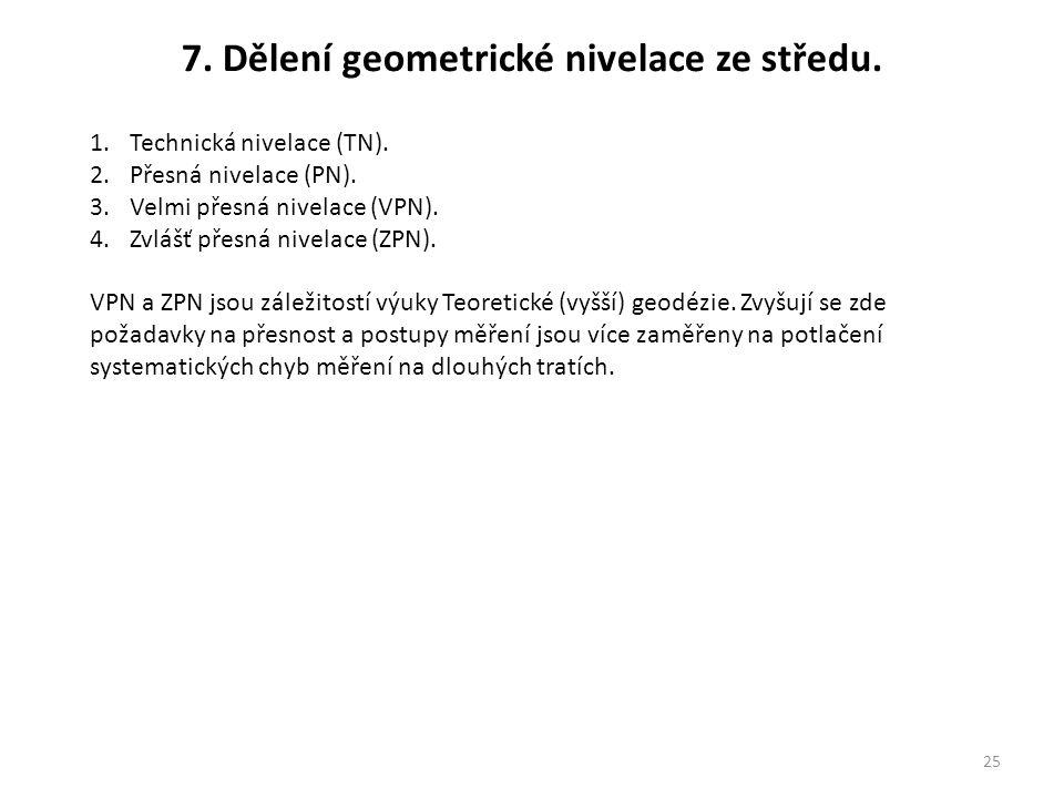 7. Dělení geometrické nivelace ze středu.