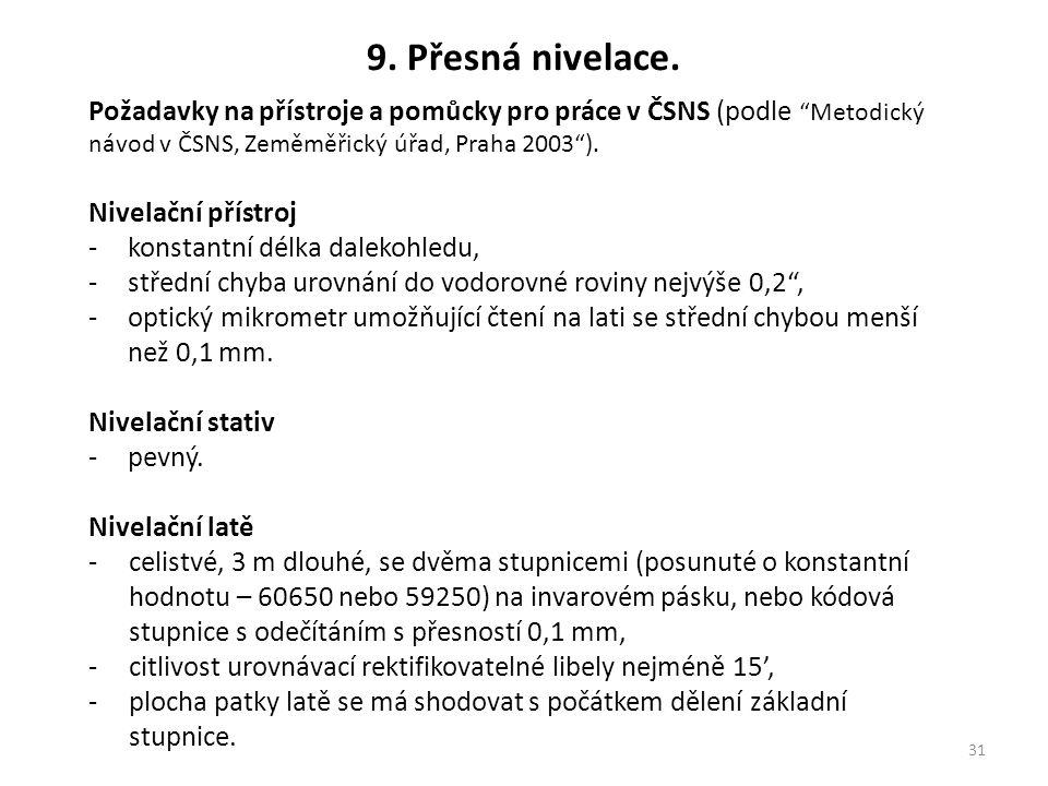 9. Přesná nivelace. Požadavky na přístroje a pomůcky pro práce v ČSNS (podle Metodický návod v ČSNS, Zeměměřický úřad, Praha 2003 ).