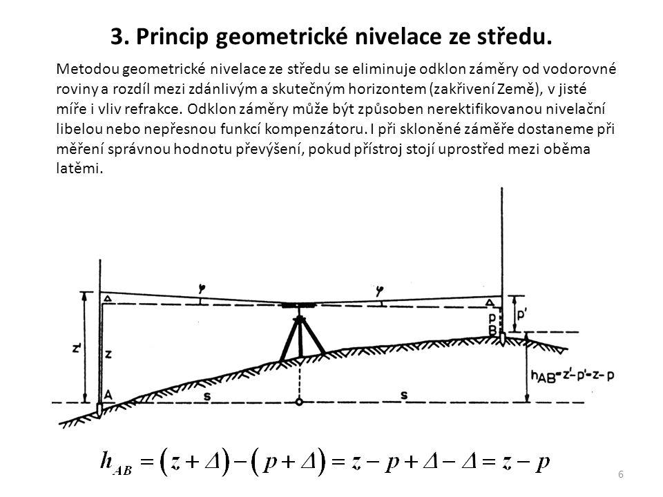 3. Princip geometrické nivelace ze středu.