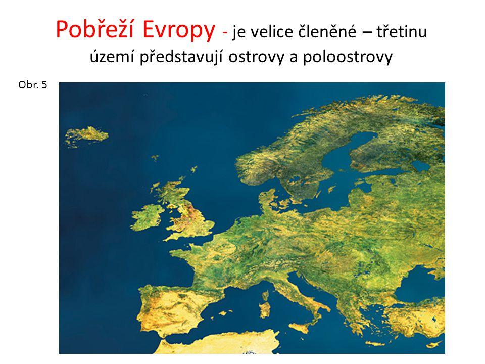 Pobřeží Evropy - je velice členěné – třetinu území představují ostrovy a poloostrovy
