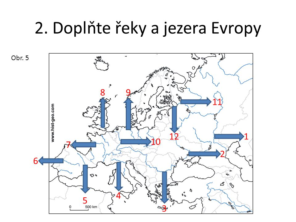 2. Doplňte řeky a jezera Evropy