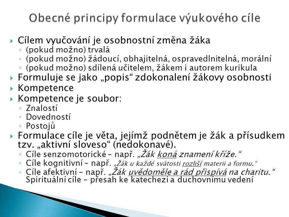 Obecné principy formulace výukového cíle