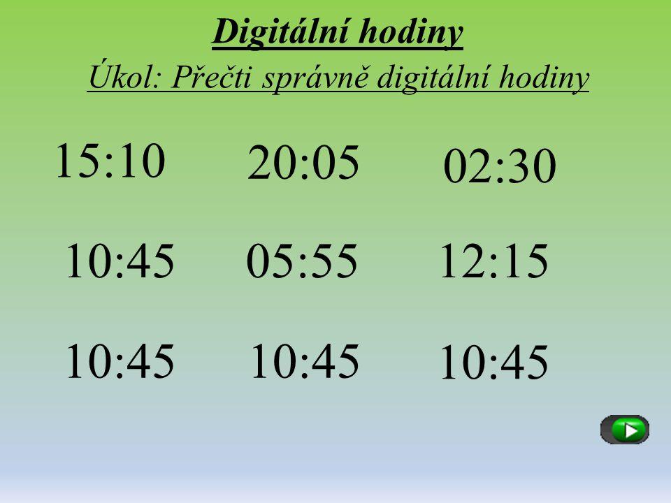 Digitální hodiny Úkol: Přečti správně digitální hodiny
