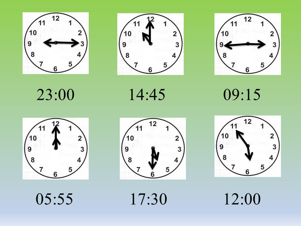 23:00 14:45 09:15 05:55 17:30 12:00